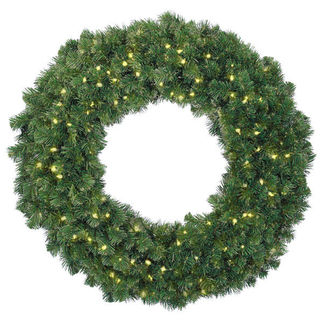 Clear - 120 Volt - Pre-Lit - Alaskan Fir Wreath - Ready Trim - 150 Lights - 36 in.
