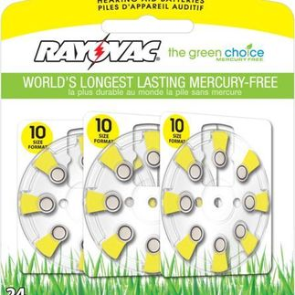 Zinc Air Battery - 1.4 Volt - For Hearing Aids - 10 Size - Rayovac L10ZA-24ZM