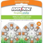 Zinc Air Battery - 1.4 Volt - For Hearing Aids - 13 Size - Rayovac L13ZA-16ZM