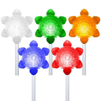 5 Snowflake Path Markers - Color Changing LED Light Show - Battery Powered