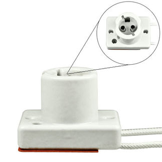 DC Bayonet Base Porcelain Socket - 9 in. Leads - 16 AWG - 150 Deg. C - Use with Low Pressure Sodium Lamps - 1000Bulbs.com 8806
