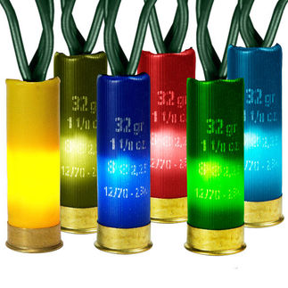 Multi-Color - 120 Volt - 50 Bulbs - Shotgun Shell Light String - Length 13.5 ft. - Bulb Spacing 3 in. - Green Wire - Christmas Lite Co. SL050-24