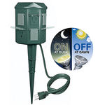 Outdoor Christmas Light Yard Power Stake  - w/ Photocell and Digital Timer - 6 ft. Cord - Westinghouse 15FTDGPWRCNTR