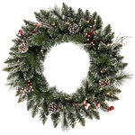 2 ft. Wreath - Frosted - Snow Tip Pine/Berry - Clear Lights
