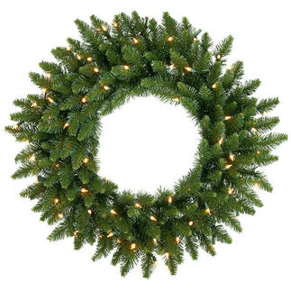 2 ft. Wreath - Green - Camdon Fir - Frosted Warm White LEDs