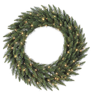 3 ft. Wreath - Green - Camdon Fir - Frosted Warm White LEDs