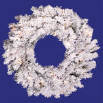 20 in. Wreath - Flocked White/Alaskan Pine - Clear Lights