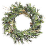 16 in. Wreath - Green - Mixed Country Pine - Clear Lights