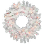 2 ft. Wreath - White - Frosted Multi-Color LEDs
