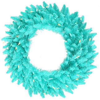 2.5 ft. Wreath - Turquoise - Spruce - Teal, White Lights
