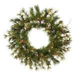 2 ft. Wreath - Green - Mixed Country Pine - Clear Lights