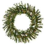 4 ft. Wreath - Green - Mixed Country Pine - Clear Lights