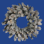 2 ft. Wreath - Flocked White/Sugar Pine - Clear Lights