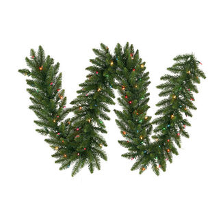9 ft. Garland - Green - Camdon Fir - Multi-Color LEDs