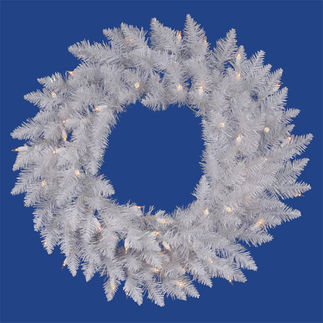 6 ft. Wreath - Sparkle White - Spruce - Clear Lights