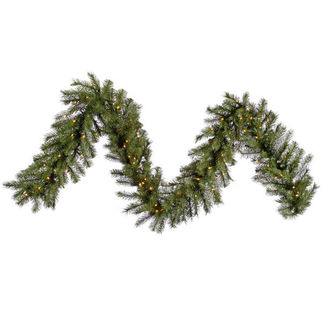 9 ft. Garland - Green - Albany Spruce - Clear Lights