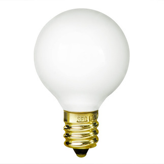 10 Watt - G12 - White - 1-1/2 in. Dia. - 130 Volt - 2,500 Life Hours - Decorative Globe - Candelabra Base - Bulbrite 300010