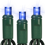 Blue - 120 Volt - 50 LED Bulbs - Wide Angle Lens - Length 25.16 ft. - Bulb Spacing 6 in. - Green Wire - Christmas Mini Light String - Superior Holiday Lighting 110301466