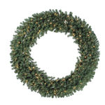 100 in. Wreath - Green - Douglas Fir - Clear Lights
