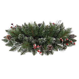 2 ft. Artificial Christmas Swag - Classic PVC Needles - Frosted Branches and Berries - Unlit