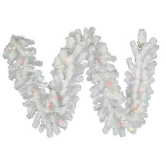 9 ft. Garland - Crystal White - Frosted Warm White LEDs