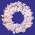20 in. Wreath - Crystal White - Clear Lights