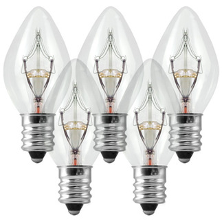 (25 Bulbs) C7 - Clear - 5 Watt - Candelabra Base - Christmas Lights - Superior Holiday Lighting 5WC7CL Replacement Light Bulbs
