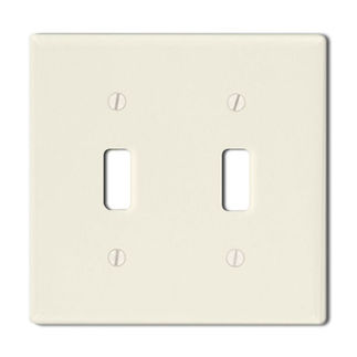 Leviton 82009 - Almond - 2 Gang - Toggle Type Wallplate