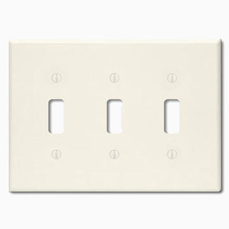 Leviton 82011 - Almond - 3 Gang - Toggle Type Wallplate