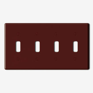 Leviton 85012 - Brown - 4 Gang - Toggle Type Wallplate