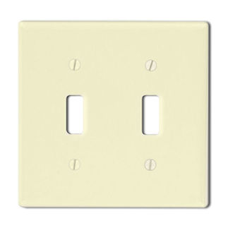 Leviton 86009 - Ivory - 2 Gang - Toggle Type Wallplate