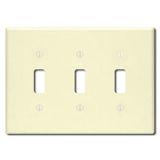 Leviton 86011 - Ivory - 3 Gang - Toggle Type Wallplate