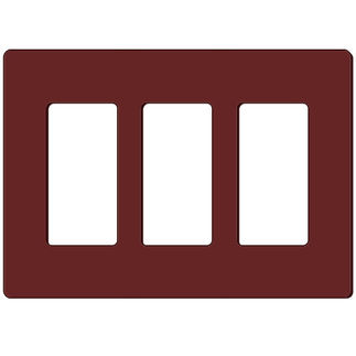 Leviton Decora 80311-S0 - Brown - 3 Gang - Decorator Wallplate - Screwless - Snap-On