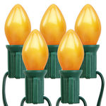 25 Gold Pumpkin Lights - C7 Shape - 25 ft. - 12 in. Spacing - Green Wire
