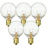 5 Watt - Miniature G40 Globes - 1.5 Diameter - 4,000 Life Hours - Candelabra Base - 130 Volt - 25 Pack