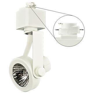 Nora NTH-697W - White - MR16 Gimbal Ring - GU10 Socket with 50W Lamp - Compatible with Halo Track - 120 Volt