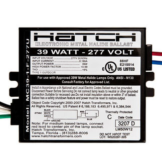 Hatch MC39-1-F-277U Metal Halide Ballast