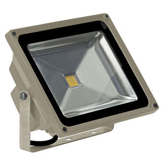 PLT - 50 Watt - LED - Waterproof Flood Light Fixture - Stark White - Operates at 100 to 240 Volts - 120 Degree Beam Angle - Light Grey Housing