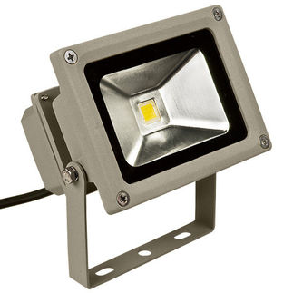 PLT - 10 Watt - LED - Waterproof Flood Light Fixture - Stark White - Operates at 100 to 240 Volts - 120 Degree Beam Angle - Light Grey Housing
