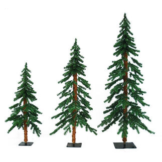 3 ft., 4 ft., 5 ft. Artificial Christmas Tree Set - Classic PVC Tips - Timberline Alpine - Pre-Lit with Clear Mini Lights - Barcana - 3 Pack