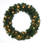 24 in. Christmas Wreath - Classic PVC Needles - Timberline Pine - Pre-Lit with Clear Mini Lights - Barcana 73-202-024-01