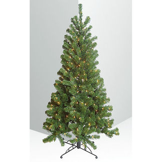 4 ft. Artificial Christmas Tree - Around Corner Three Quarter Tree - Pre-Lit with Clear Mini Lights - Barcana