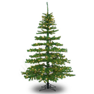 6 ft. Artificial Christmas Tree - Pre-Lit Slim Tiffany Pine - Classic PVC Needles - Barcana