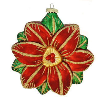 Antique Poinsettia Christmas Ornament - Shatterproof - 6 in. - Red and Green