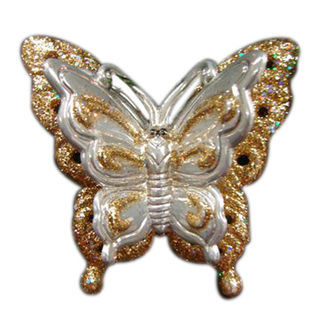 Butterfly Clip Christmas Ornament - Shatterproof - 3.5 in. - Gold and Ivory - 4 Pack