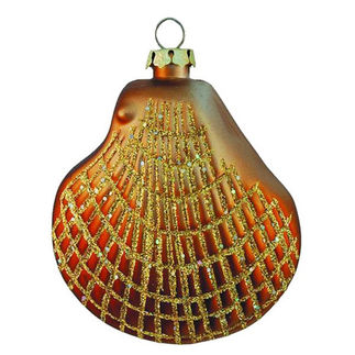 Clam Shell Christmas Ornament - Shatterproof - 3.5 in. - Copper - 4 Pack