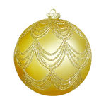 Draped Glitter Ball Christmas Ornament - Shatterproof - 4.7 in. - Gold - 2 Pack