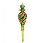Spiral Finial Christmas Ornament - Shatterproof - 8 in. - Green, Red, and Gold - 3 Pack