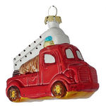 Fire Truck Christmas Ornament - Shatterproof - 3 in. - Red and White - 4 Pack