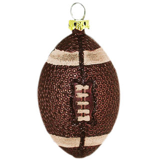 Small Football Christmas Ornament - Shatterproof - 3 in. - Brown - 6 Pack